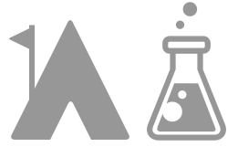 Camp cabin and beaker icon