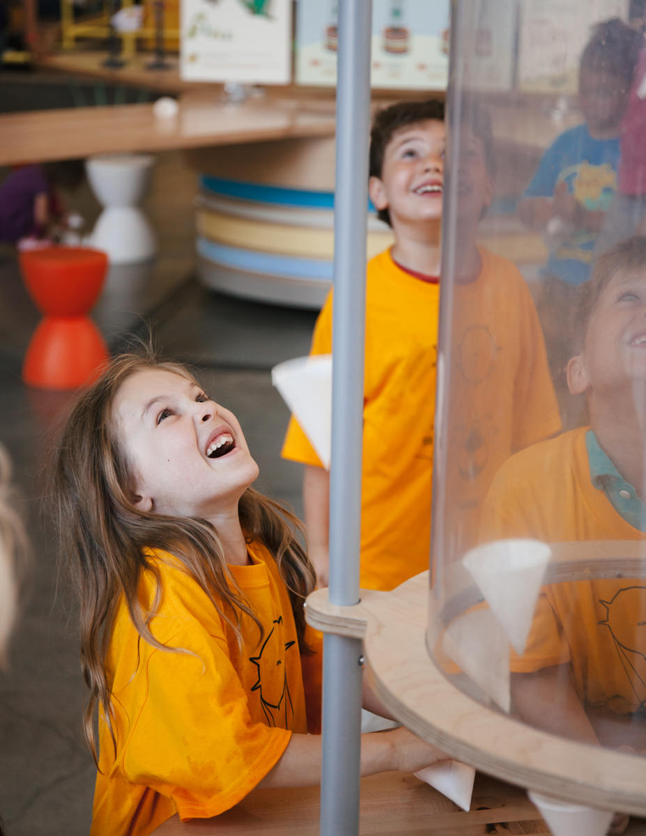 Children interacting with exhibit