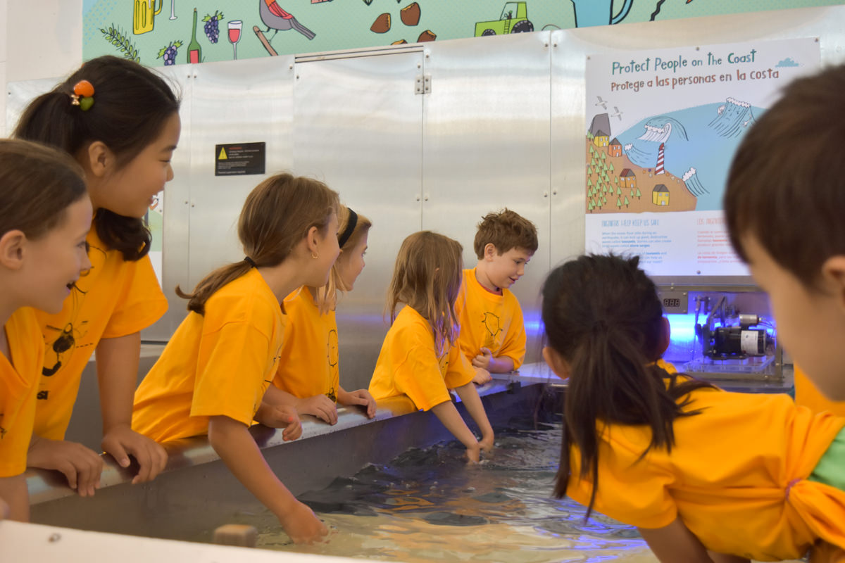 Group of kids interacting with exhibit