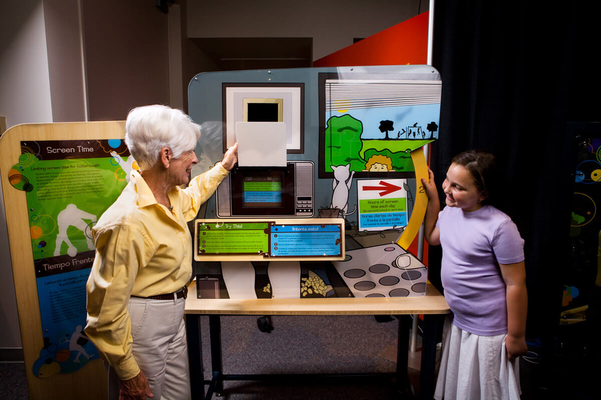 Visitors with 'Screen Time' interactive