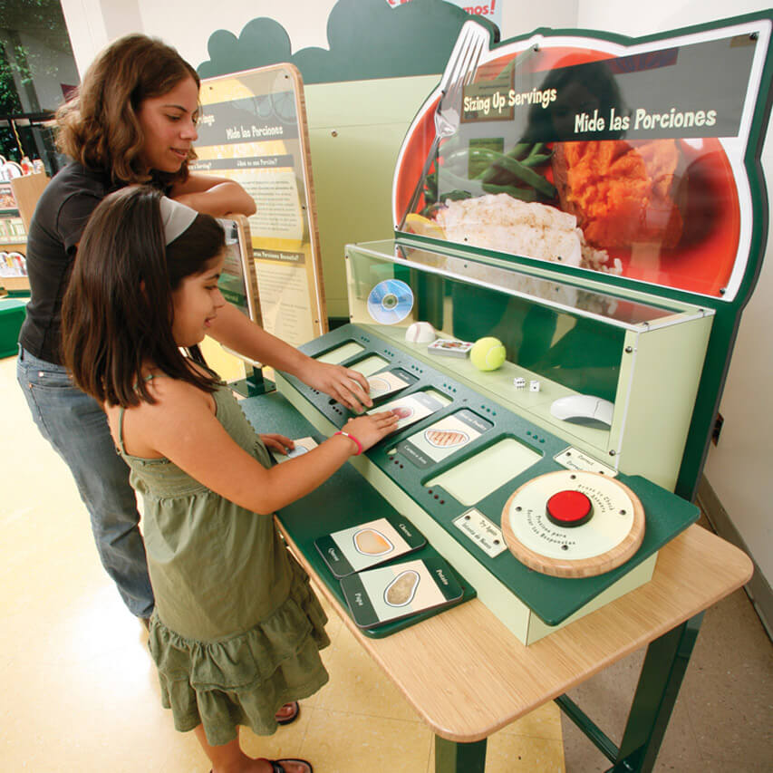 Visitors with 'Sizing Up Portions' interactive