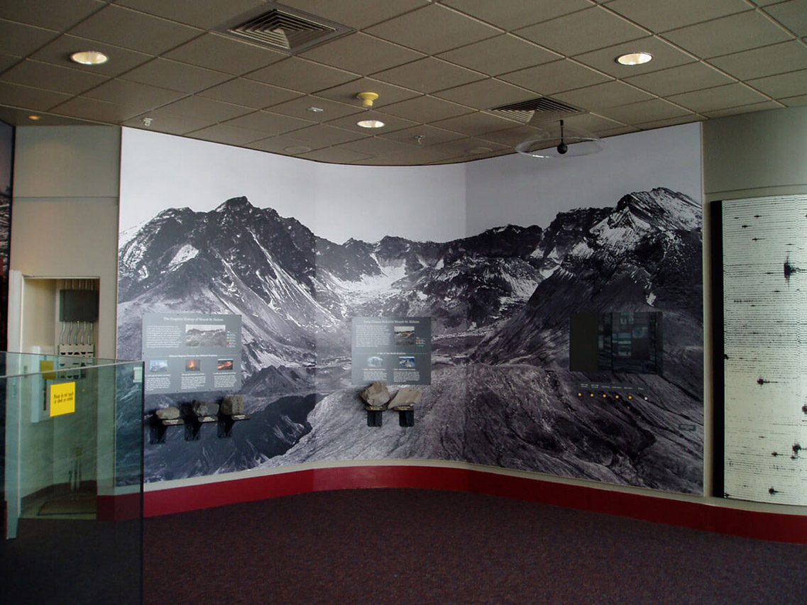 A sweeping mural of Mt. St. Helens
