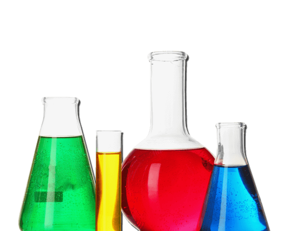 4 beakers with different colors of liquid