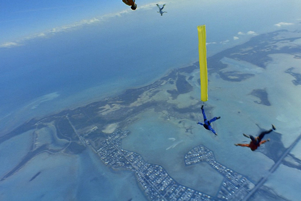 Skydivers over the Florida Keys