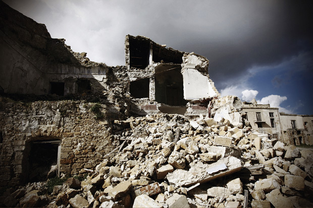 Buildings destroyed by earthquake