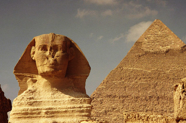 Sphinx and Great Pyramid at Giza, Egypt