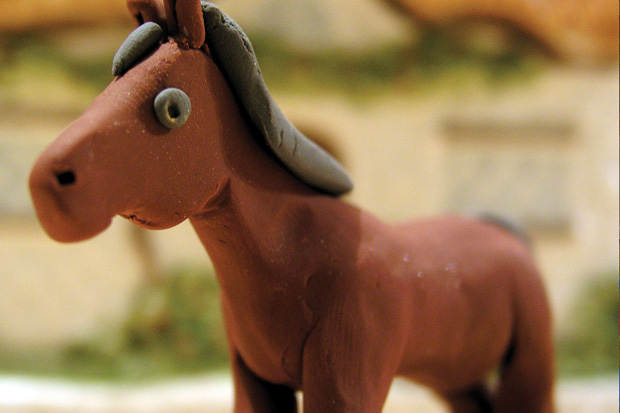 Claymation horse ready for animation