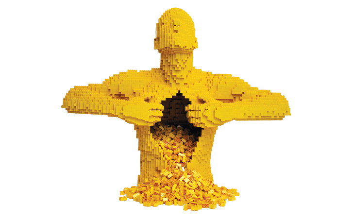 'Yellow' sculpture from The Art of the Brick
