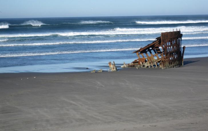 Shipwreck on Oregon seashore
