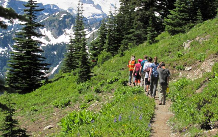 Backpackers on trail in Canadian Rockies