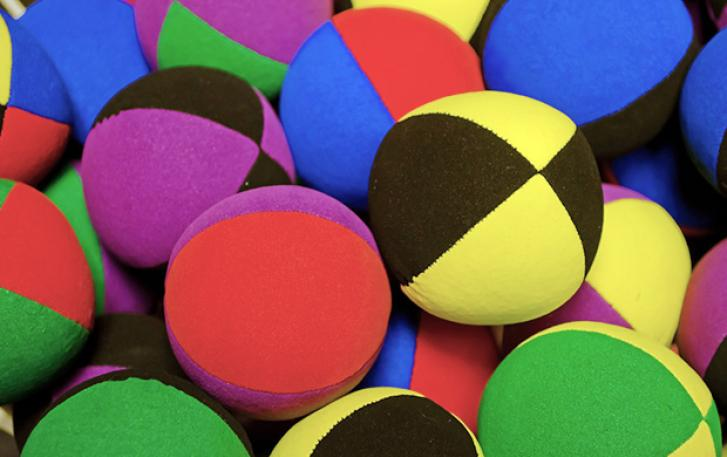 Close up of multicolored bean bags