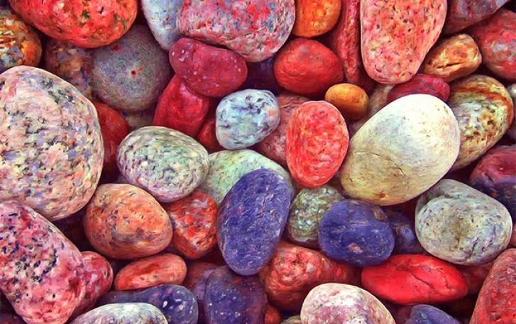 Close up of river rocks