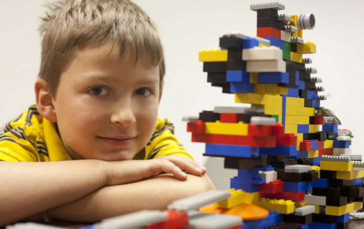 Student with LEGO® spaceship