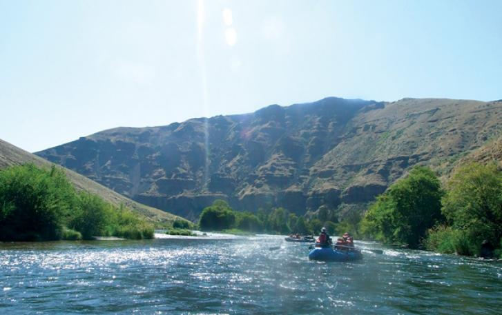 Rafters navigating rapids on Oregon river