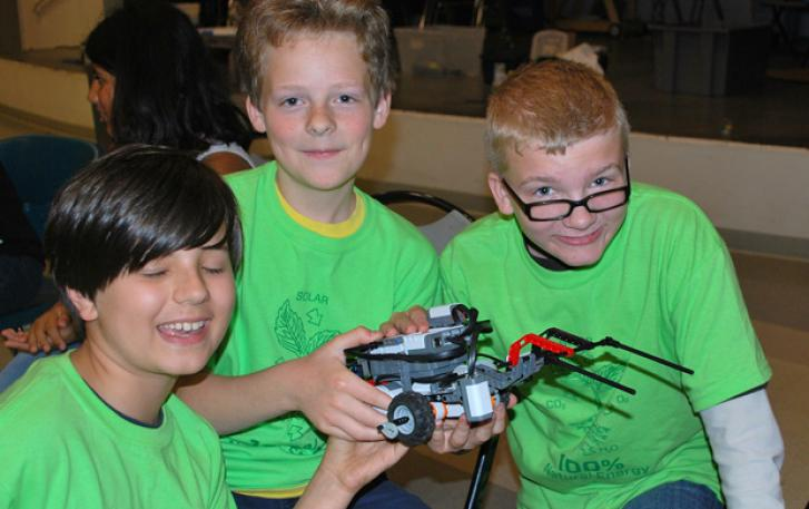 Students showing off their LEGO® robot