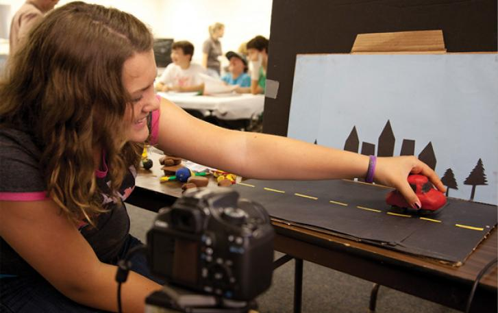 Student director assembles scene for animation