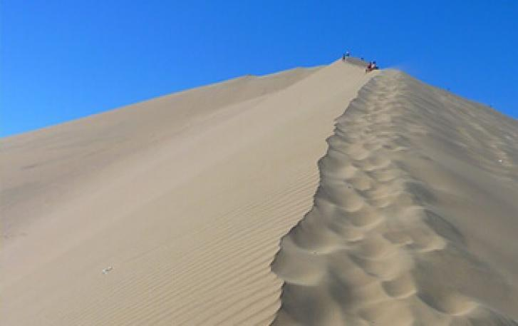 Hikers stand atop sand dunes at Oregon Dunes National Recreation Area