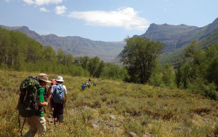 Backpackers crossing meadow near Steens Mountain