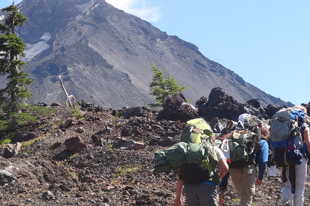 Backpackers on trail in Three Sisters Wilderness