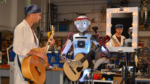 RoboThespian with guitar